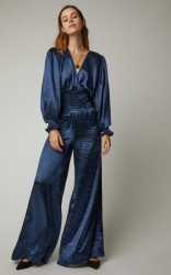 Caroline Constas Smocked Satin Wide-Leg Jumpsuit